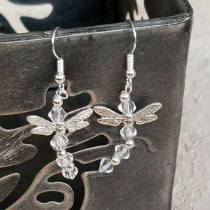 Dragonfly Glass Dangle Earrings Handmade